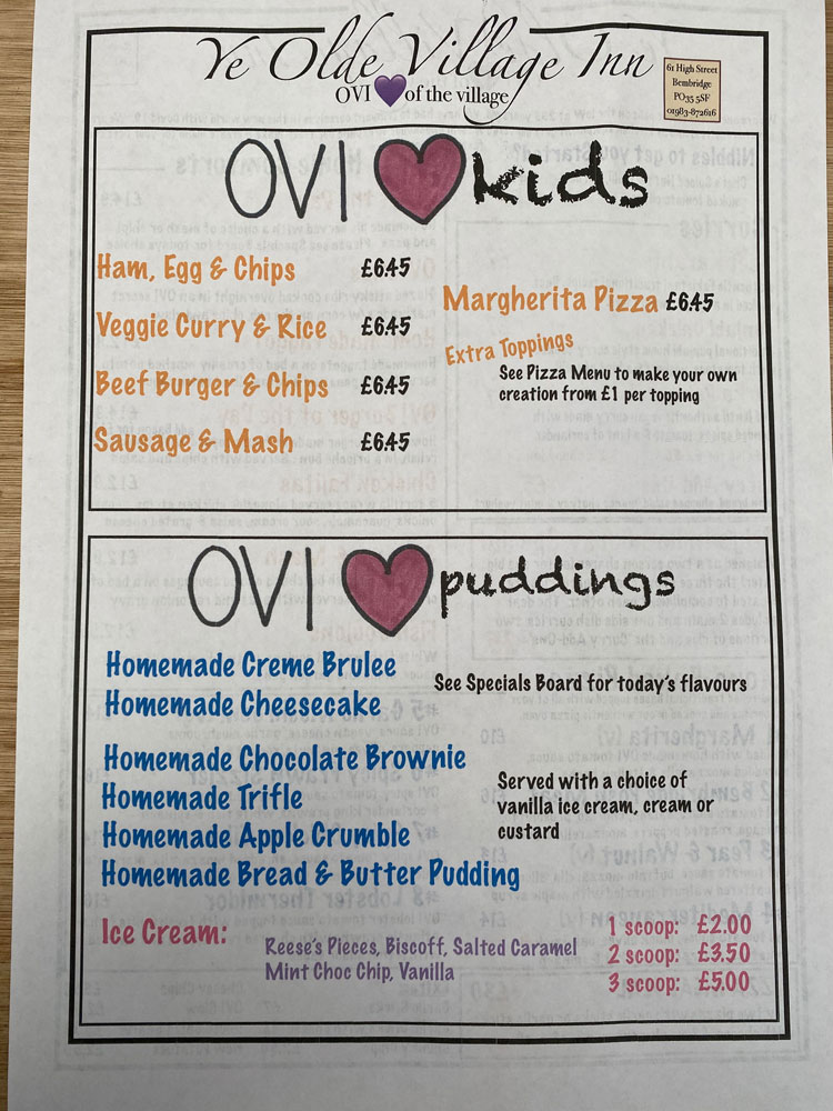 Ye Olde Village Inn - Kids and Puddings Menu 2020